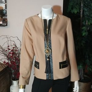 Chico's Tan Jacket with Black Faux Leather Trim